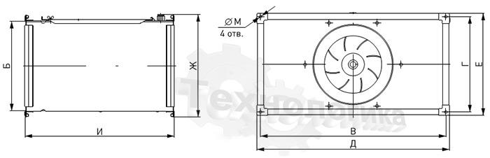Габариты вентилятора NED VRN 60-35/28.2D