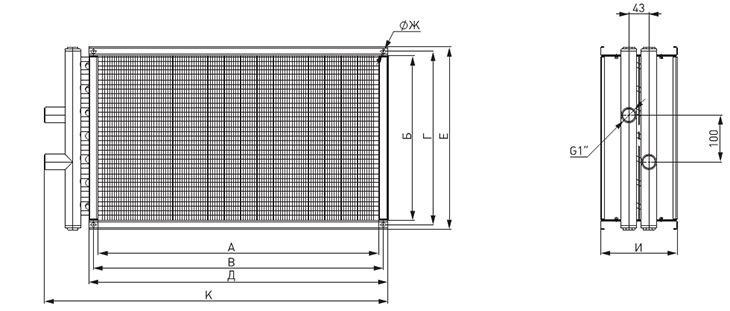 Габаритные размеры водяных нагревателей NED WH